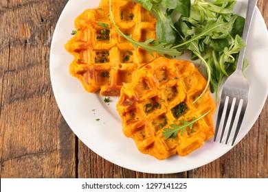 sweet potato waffle with salad