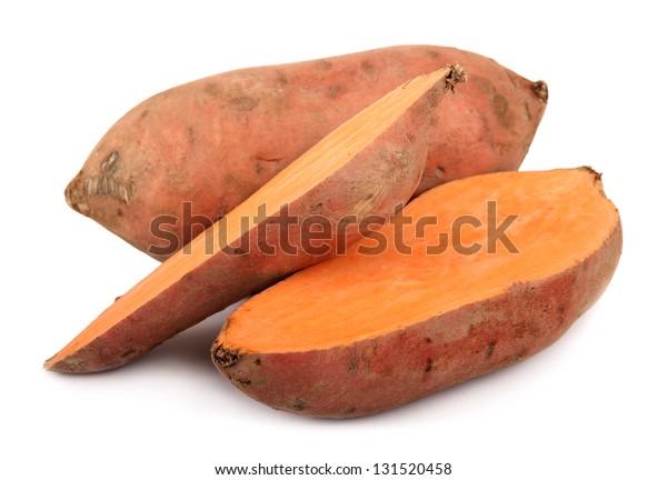 sweet potato yam isolated on white Ipomoea batatas