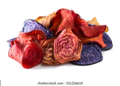 Sweet potato,candy striped beet and blue potato chips.Real vegetable chips.