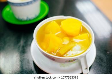 sweet potatoes dessert in hot ginger soup, a common dessert in Hong Kong