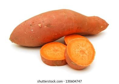 Sweet potatoes on white