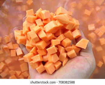 Sweet potatoes, split dice, soaked water