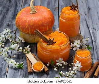 Sweet pumpkin jam in jar. Selective focus