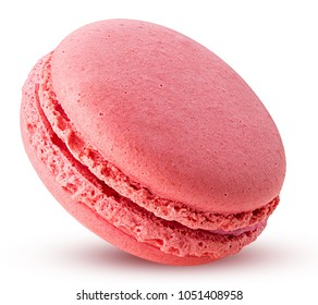 Sweet raspberries macarons isolated on white background. Clipping Path. Full depth of field.