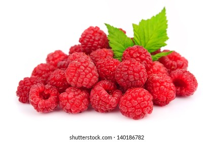 Sweet raspberry with leafs on white