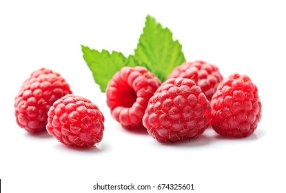 Sweet raspberry with leafs on white backgrounds.