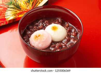 sweet red bean soup with a grilled rice cake
