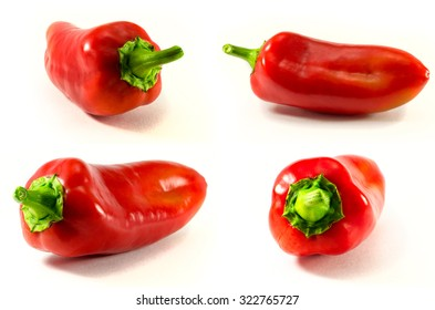 Sweet red bell pepper on white background