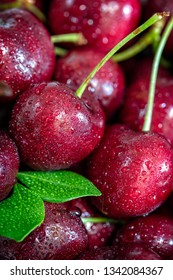 Sweet red cherries background, close up, vertical composition - Image