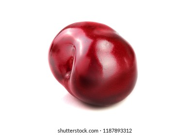 Sweet red cherry isolated on white background macro.