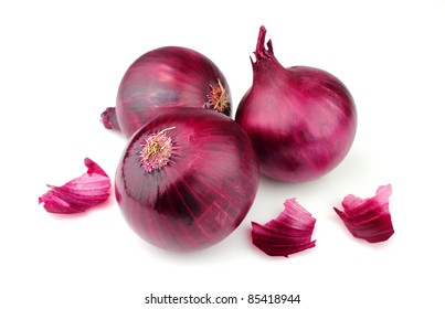 sweet red onion close up on the white