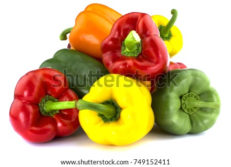 Sweet red orange green yellow color bell pepper isolated on white background