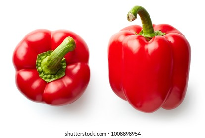 Sweet red pepper isolated on white background. Top view.