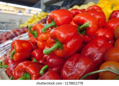 Sweet red pepper on the shelf in the store