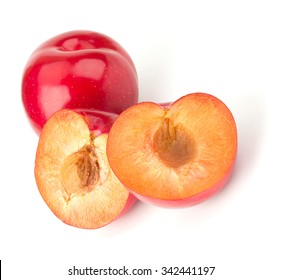 Sweet red plum isolated on white background cutout