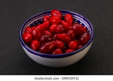 Sweet and ripe cornel or dogtree berries