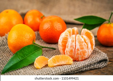 sweet and ripe mandarines (tangerines) with leaves