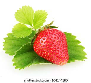 sweet ripe strawberries with leaves isolated on white