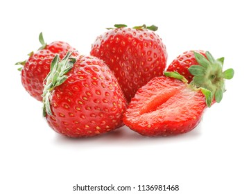 Sweet ripe strawberries on white background