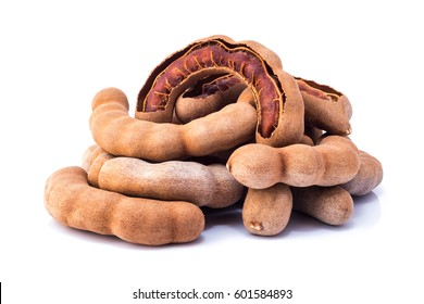 Sweet ripe tamarind with isolated on a white background. Closeup