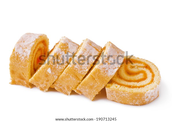 Sweet roll cake isolated on white