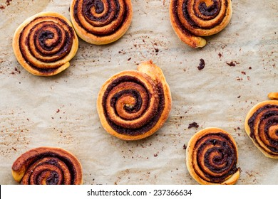 sweet rolls with cinnamon and chocolate - top view