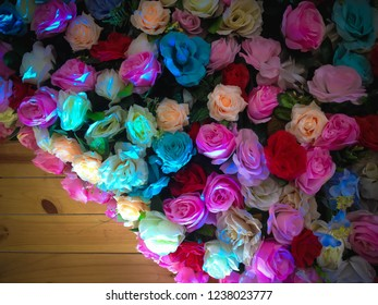 Sweet Roses Wedding Flowers Decorations On The Wall Of Wedding Stage At Tuka Village, Badung, Bali, Indonesia
