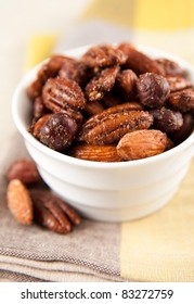 Sweet and Salty Spiced Nuts Served in Small Bowl