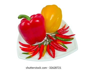Sweet and sharp pepper on one plate