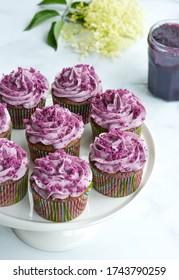 Sweet and silky Purple Velvet Cupcake - ube jam