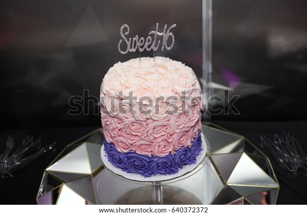 Incredible Sweet Sixteen Birthday Cake On Cake Stock Photo Edit Now 640372372 Personalised Birthday Cards Veneteletsinfo