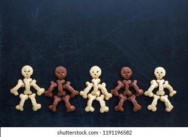 Sweet skeletons for breakfast on halloween. Healthy baby food.