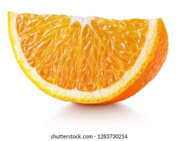Sweet slice of orange citrus fruit isolated on white background