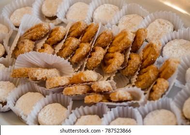 Sweet snacks, alfajores and orejitas