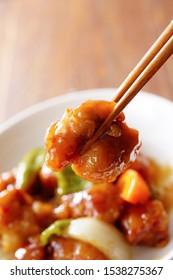 Sweet and sour pork. Chinese food.