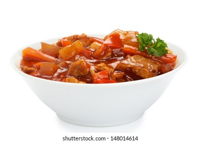 Sweet and sour pork meat in a bowl on white background