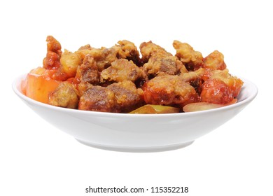 Sweet and Sour Pork on White Background