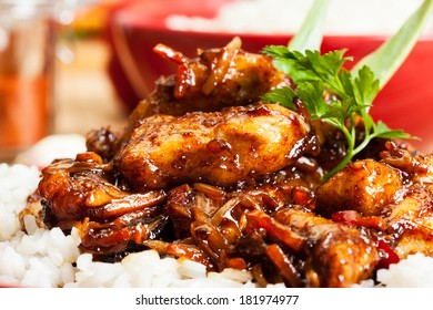 Sweet and sour pork and rice ion plate