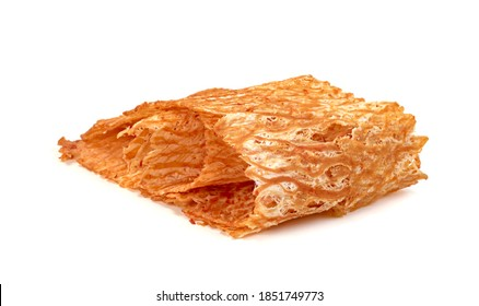 sweet and spicy crushed dried squid isolated on white background