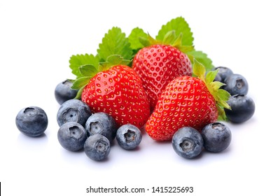 Sweet strawberry and blackberry isolated on white backgrounds.