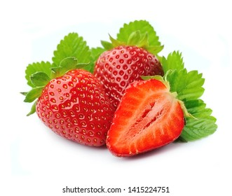 Sweet strawberry with leaves isolated on white backgrounds.