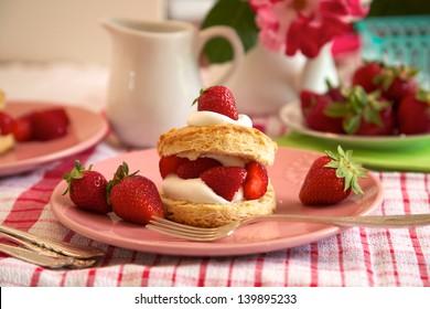 Sweet strawberry shortcake, homemade