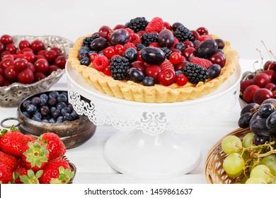Sweet tart with raspberries, blueberries, blackberries, cherries and red currants.