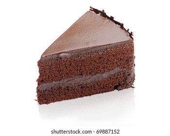Sweet and tasty chocolate cake great for during coffee break isolated on white