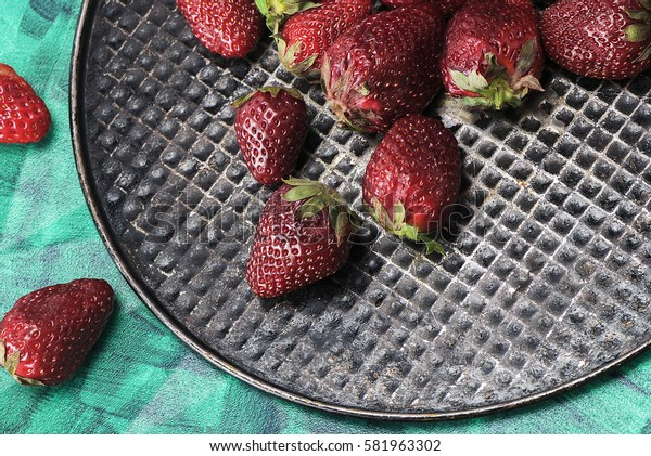 Sweet, tasty, useful, delicious, juicy strawberries closeup. The view from the top. Proper healthy eating