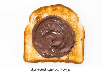 sweet toast with chocolate paste, top view horizontal