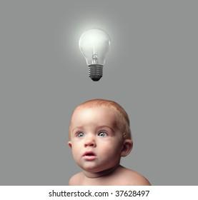 sweet toddler having an idea