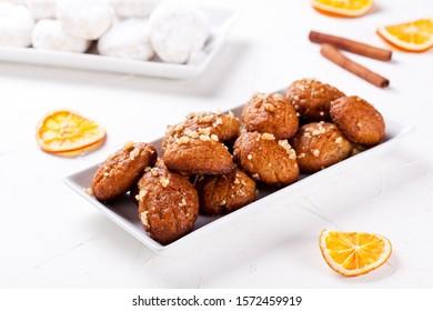 Sweet traditional homemade greek melomakarona for Christmas