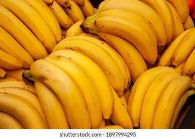 Sweet view of group bananas, healthy food background ready for text
