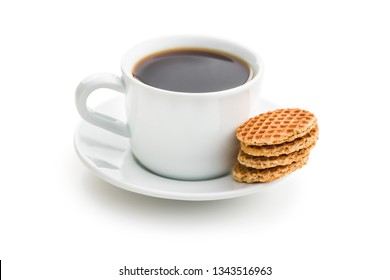 Sweet waffle biscuits and coffee cup isolated on white background.